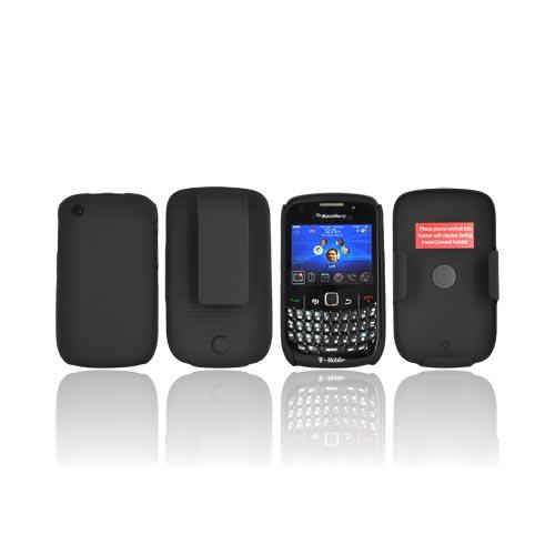 Original PureGear BlackBerry Curve 8520 Rubberized Hard Shell Case w/ Holster Combo, 03-002-00584 - Black