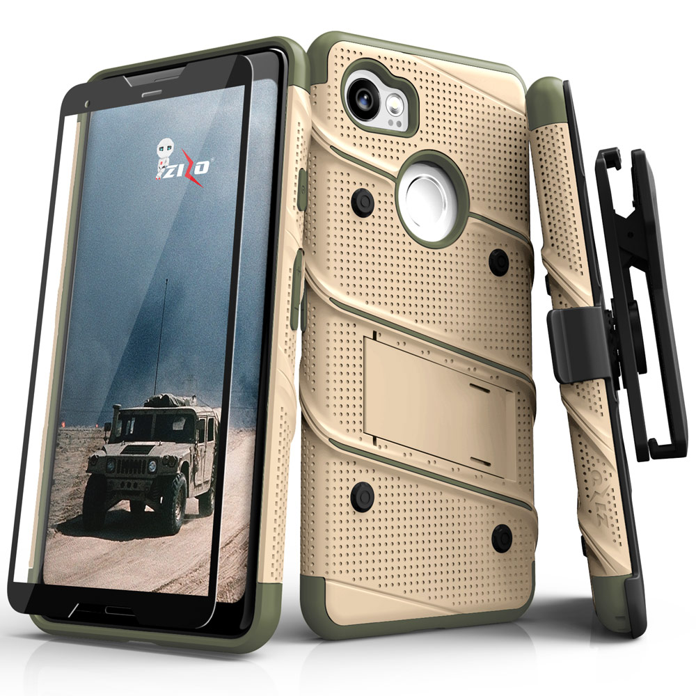 Made for [Google Pixel XL 2]-Bolt Series:  Heavy Duty Cover w/ Kickstand Holster Tempered Glass Screen Protector & Lanyard [Desert Tan/ Camo Green]