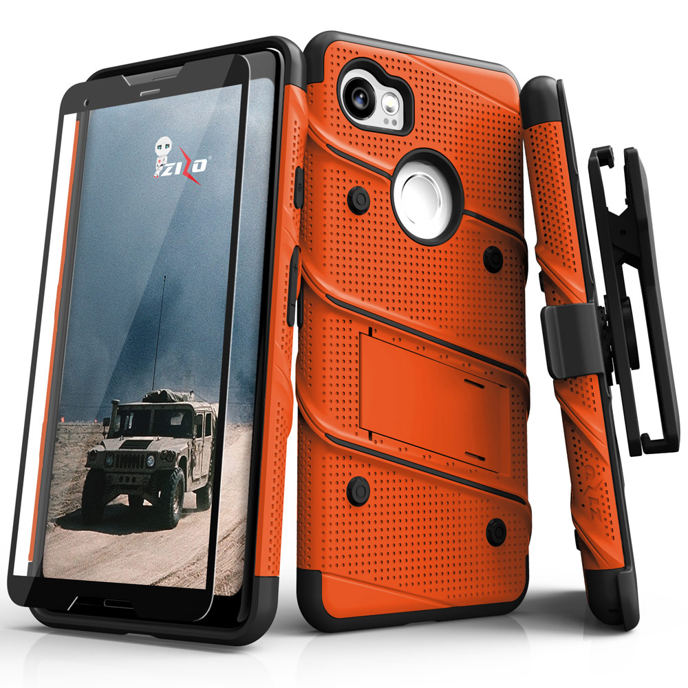 Made for [Google Pixel XL 2]-Bolt Series:  Heavy Duty Cover w/ Kickstand Holster Tempered Glass Screen Protector & Lanyard [Orange/ Black]