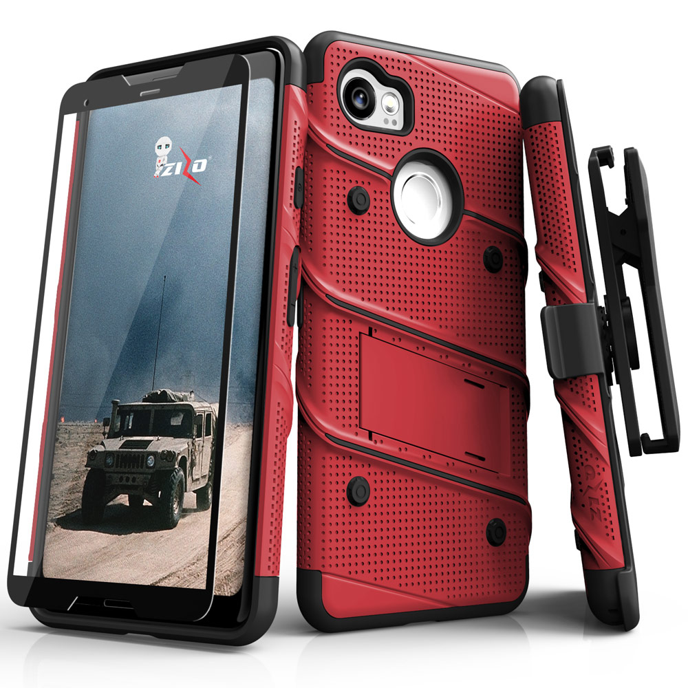Made for [Google Pixel XL 2]-Bolt Series:  Heavy Duty Cover w/ Kickstand Holster Tempered Glass Screen Protector & Lanyard [Red/ Black]