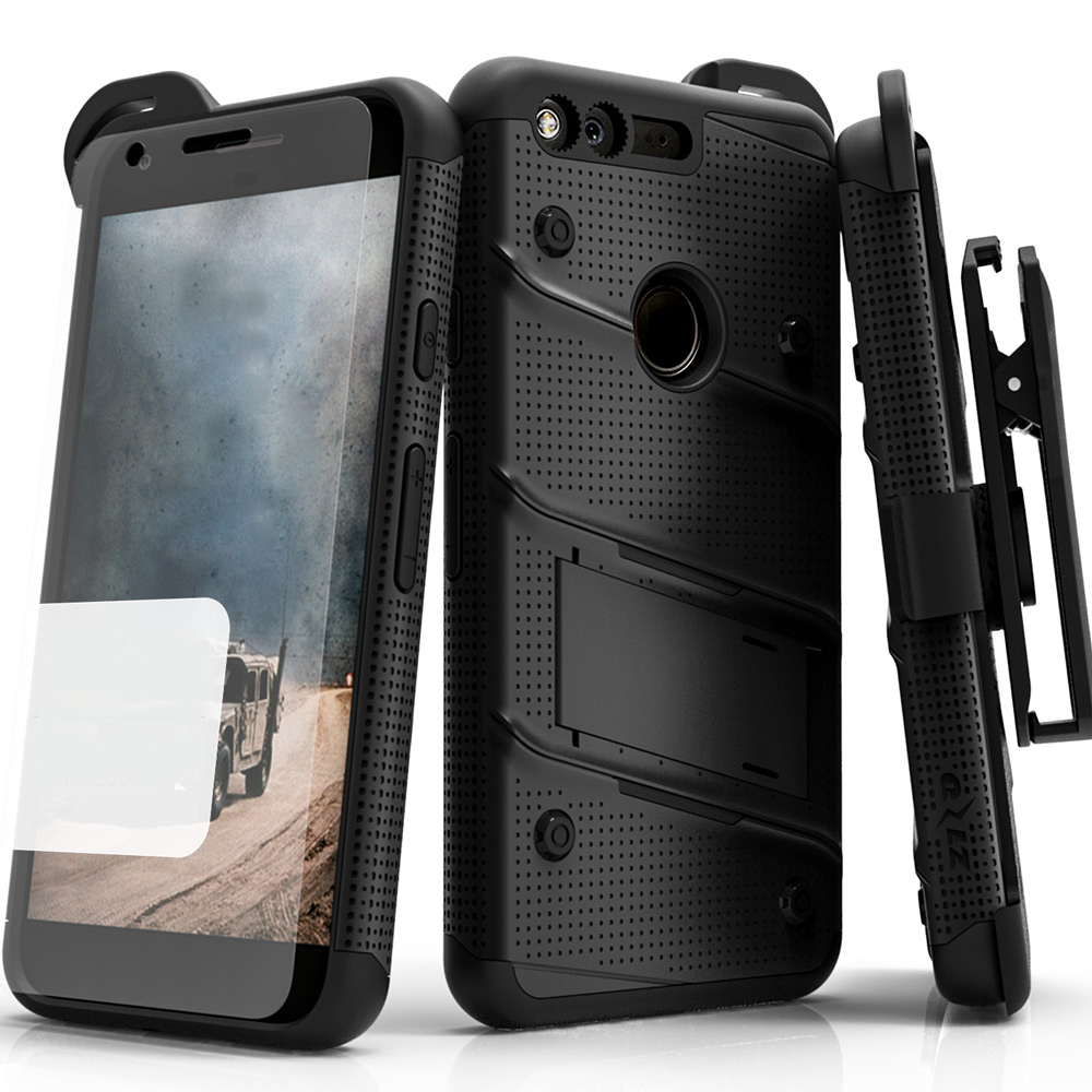 Made for [Google Pixel XL]-Bolt Series:  Heavy Duty Cover w/ Kickstand Holster Tempered Glass Screen Protector & Lanyard [Black ]