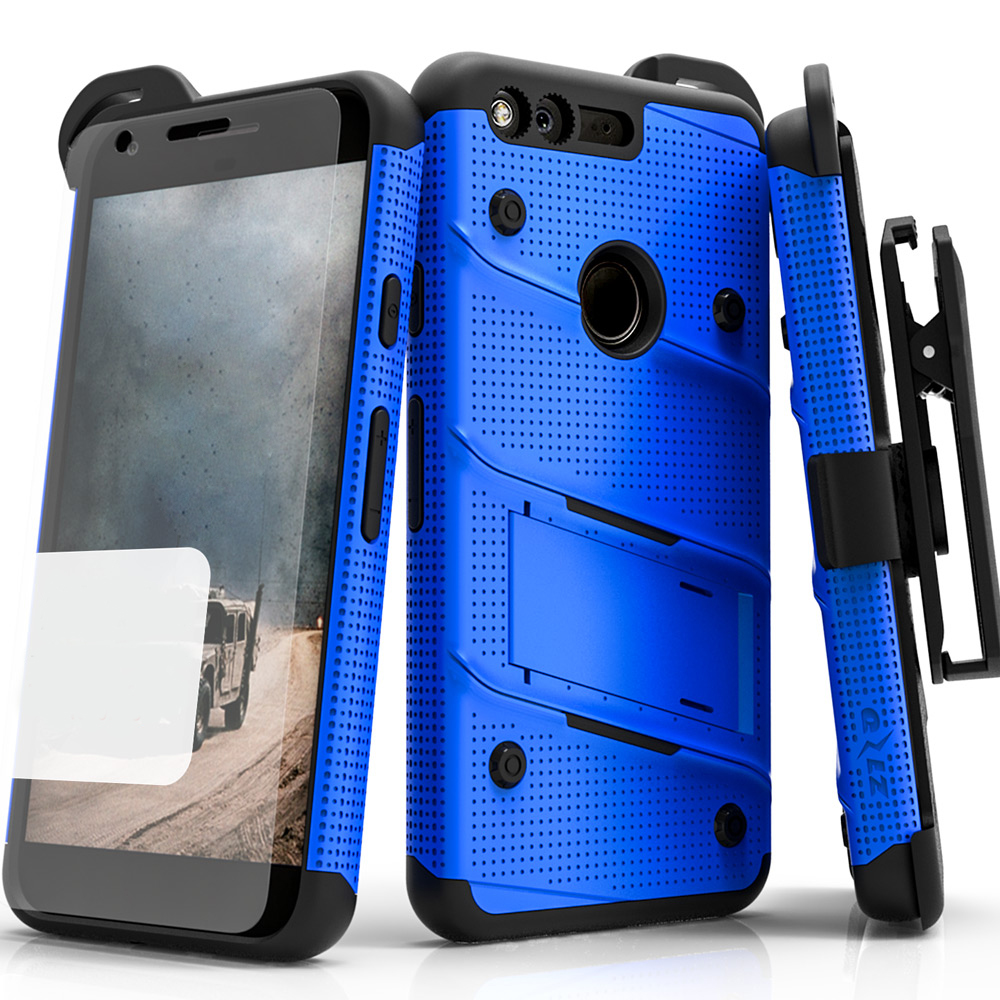 Made for [Google Pixel XL]-Bolt Series:  Heavy Duty Cover w/ Kickstand Holster Tempered Glass Screen Protector & Lanyard [Blue/ Black]