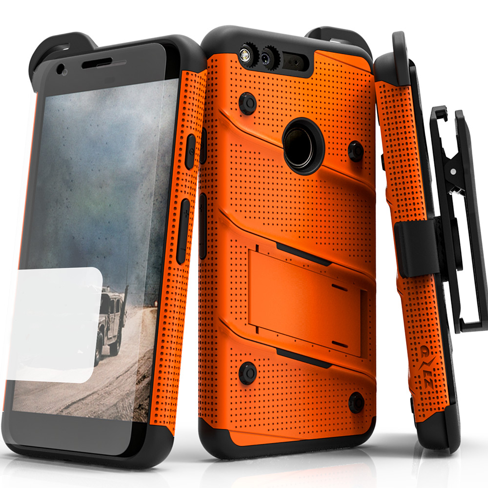 Made for [Google Pixel XL]-Bolt Series:  Heavy Duty Cover w/ Kickstand Holster Tempered Glass Screen Protector & Lanyard [Orange/ Black]