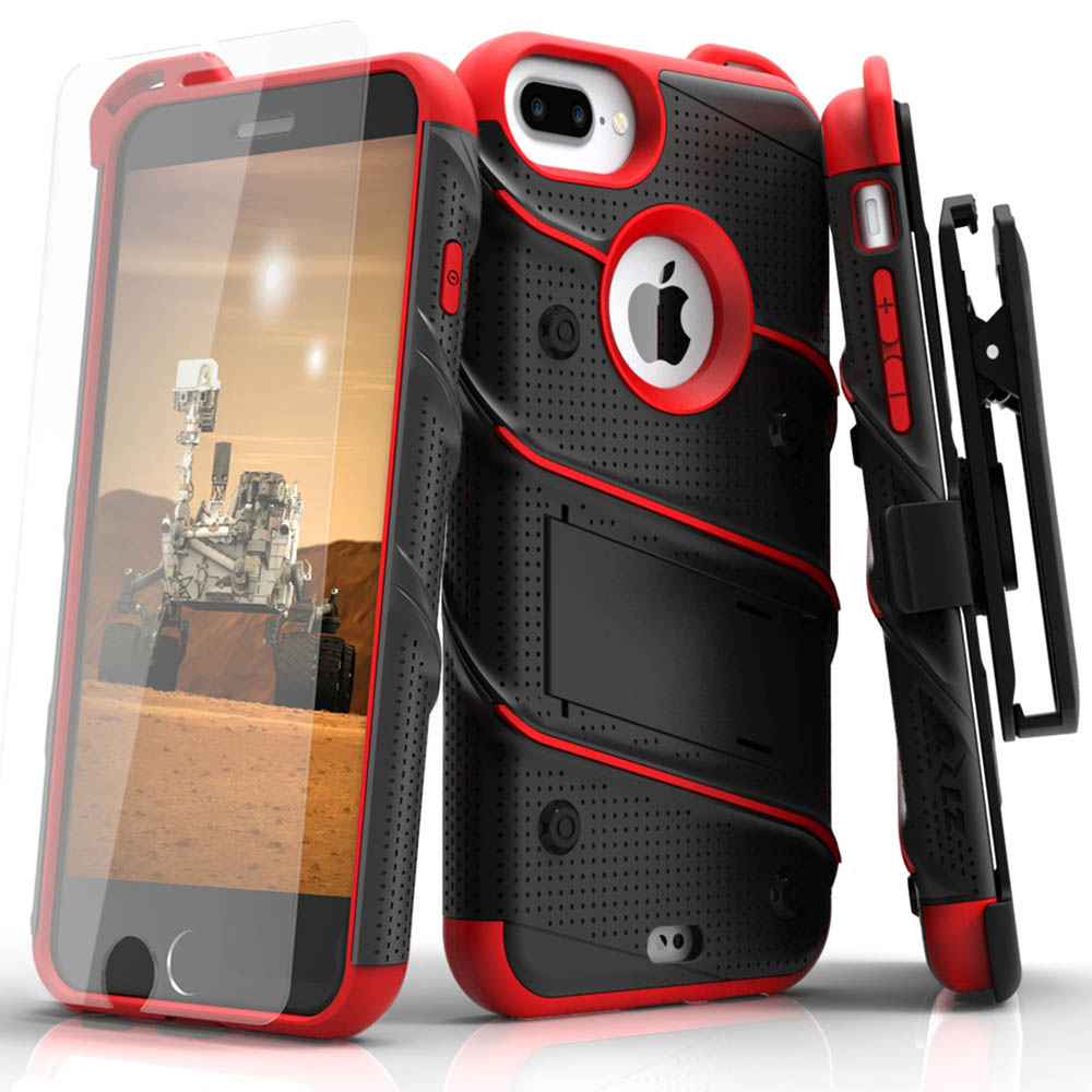 Apple iPhone 6S/6 Plus (5.5 inch) Case - [bolt] Heavy Duty Cover w/ Kickstand, Holster, Tempered Glass Screen Protector & Lanyard [Black/ Red]