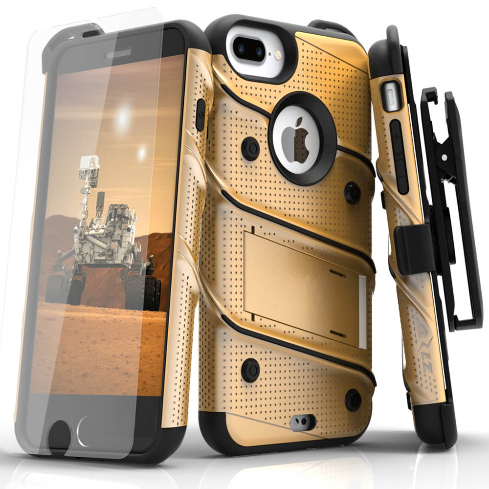 Apple iPhone 6S/6 Plus (5.5 inch) Case - [bolt] Heavy Duty Cover w/ Kickstand, Holster, Tempered Glass Screen Protector & Lanyard [Gold]