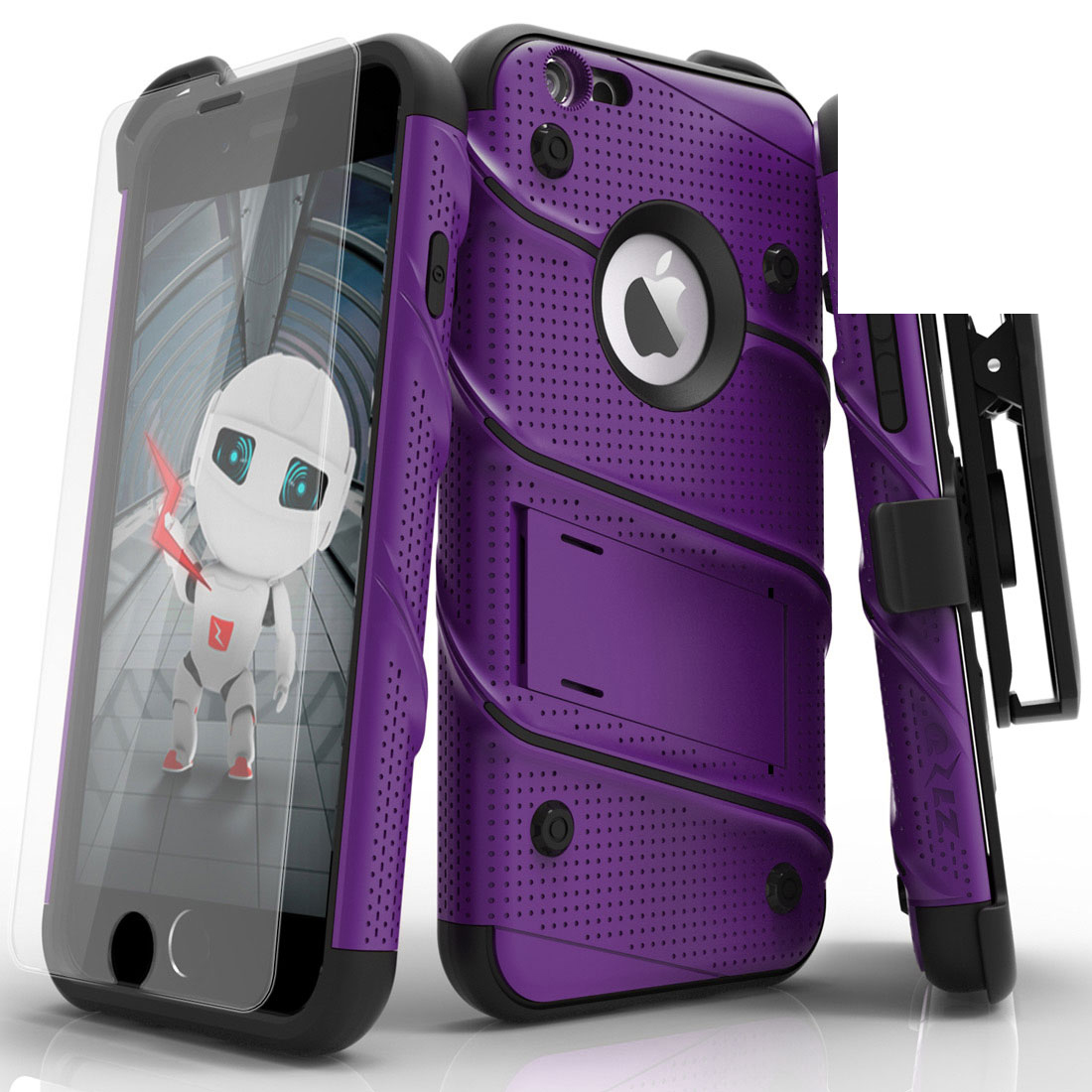 Apple iPhone 6S/6 Plus (5.5 inch) Case - [bolt] Heavy Duty Cover w/ Kickstand, Holster, Tempered Glass Screen Protector & Lanyard [Purple]