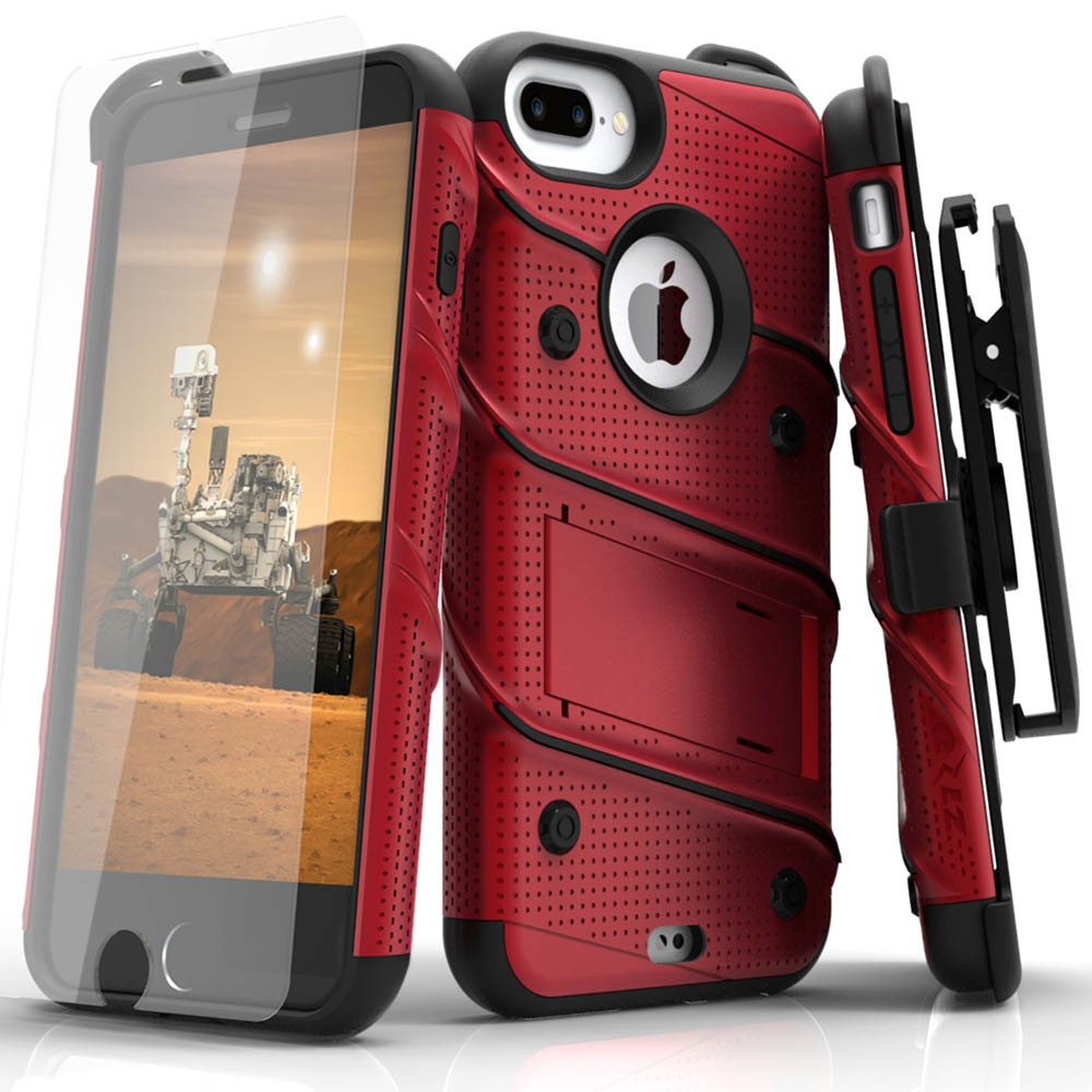 Made for [Apple iPhone 6S/6 Plus (5.5 inch)]-Bolt Series:  Heavy Duty Cover w/ Kickstand Holster Tempered Glass Screen Protector & Lanyard [Red]