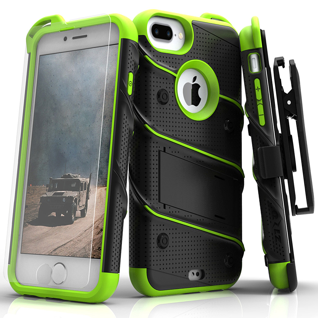 Made for [Apple iPhone 8/7/6S/6 Plus]-Bolt Series:  Heavy Duty Cover w/ Kickstand Holster Tempered Glass Screen Protector & Lanyard [Black/ Neon Green]