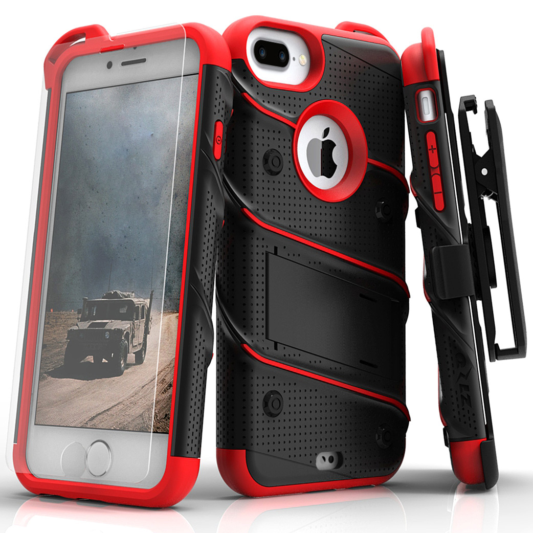 Made for [Apple iPhone 8/7/6S/6 Plus]-Bolt Series:  Heavy Duty Cover w/ Kickstand Holster Tempered Glass Screen Protector & Lanyard [Black/ Red]