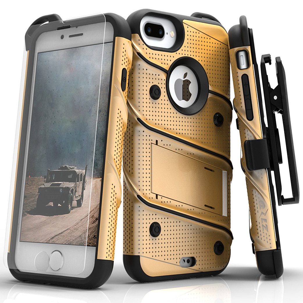 Made for [Apple iPhone 8/7/6S/6 Plus]-Bolt Series:  Heavy Duty Cover w/ Kickstand Holster Tempered Glass Screen Protector & Lanyard [Gold/ Black]
