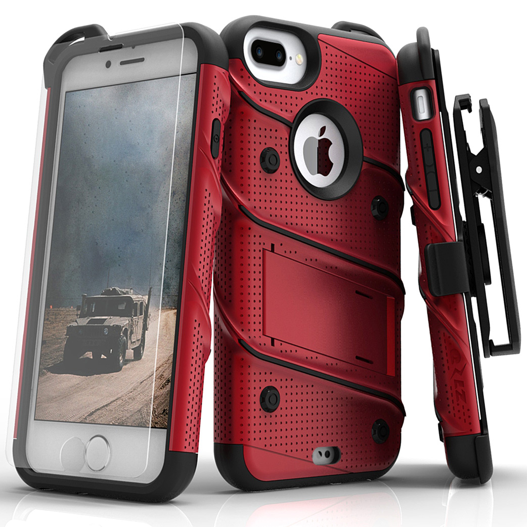 Made for [Apple iPhone 8/7/6S/6 Plus]-Bolt Series:  Heavy Duty Cover w/ Kickstand Holster Tempered Glass Screen Protector & Lanyard [Red/ Black]