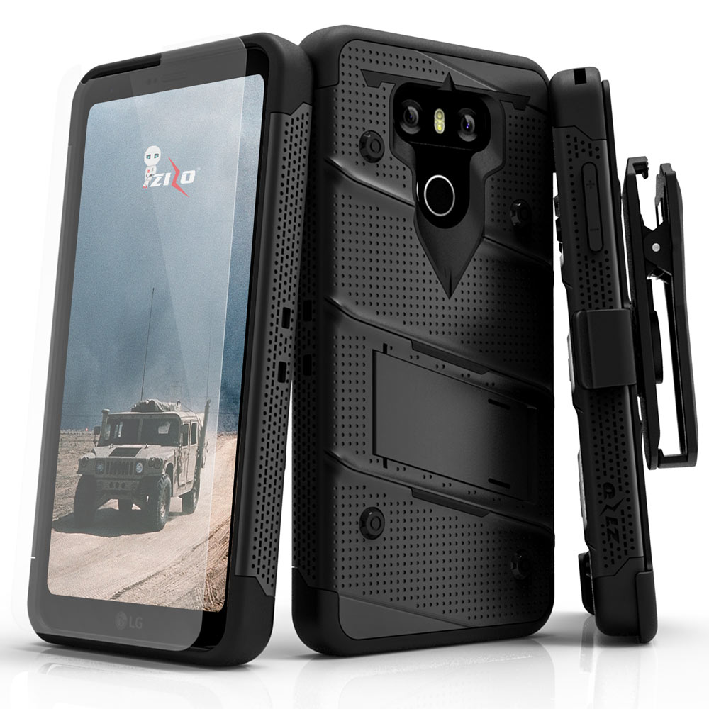 Made for [LG G6]-Bolt Series:  Heavy Duty Cover w/ Kickstand Holster Tempered Glass Screen Protector & Lanyard [Black]