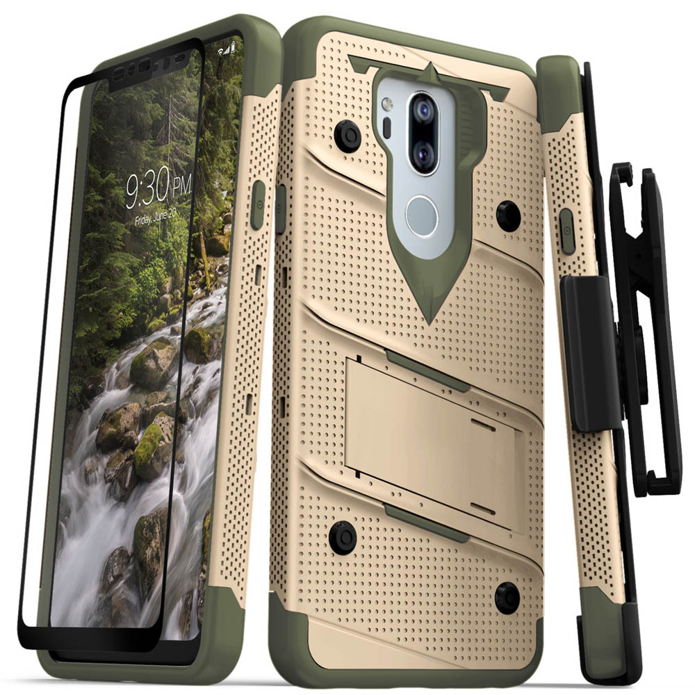 LG G7 [BOLT] Case - Heavy Duty Cover w/ Kickstand  Holster  Tempered Glass Screen Protector & Lanyard [Desert Tan/Camo Green]