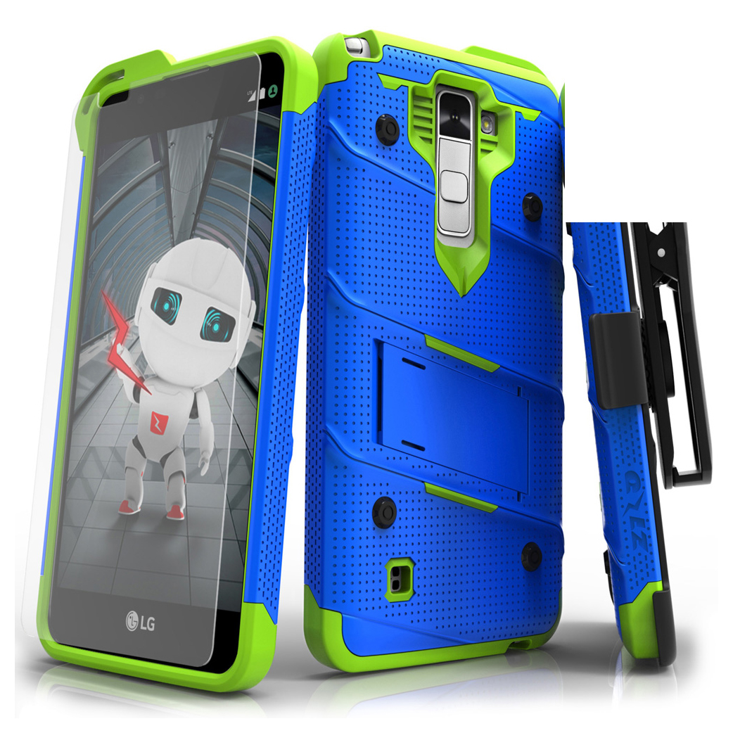 Made for [LG Stylo 2]-Bolt Series:  Heavy Duty Cover w/ Kickstand Holster Tempered Glass Screen Protector & Lanyard [Blue/ Neon Green]