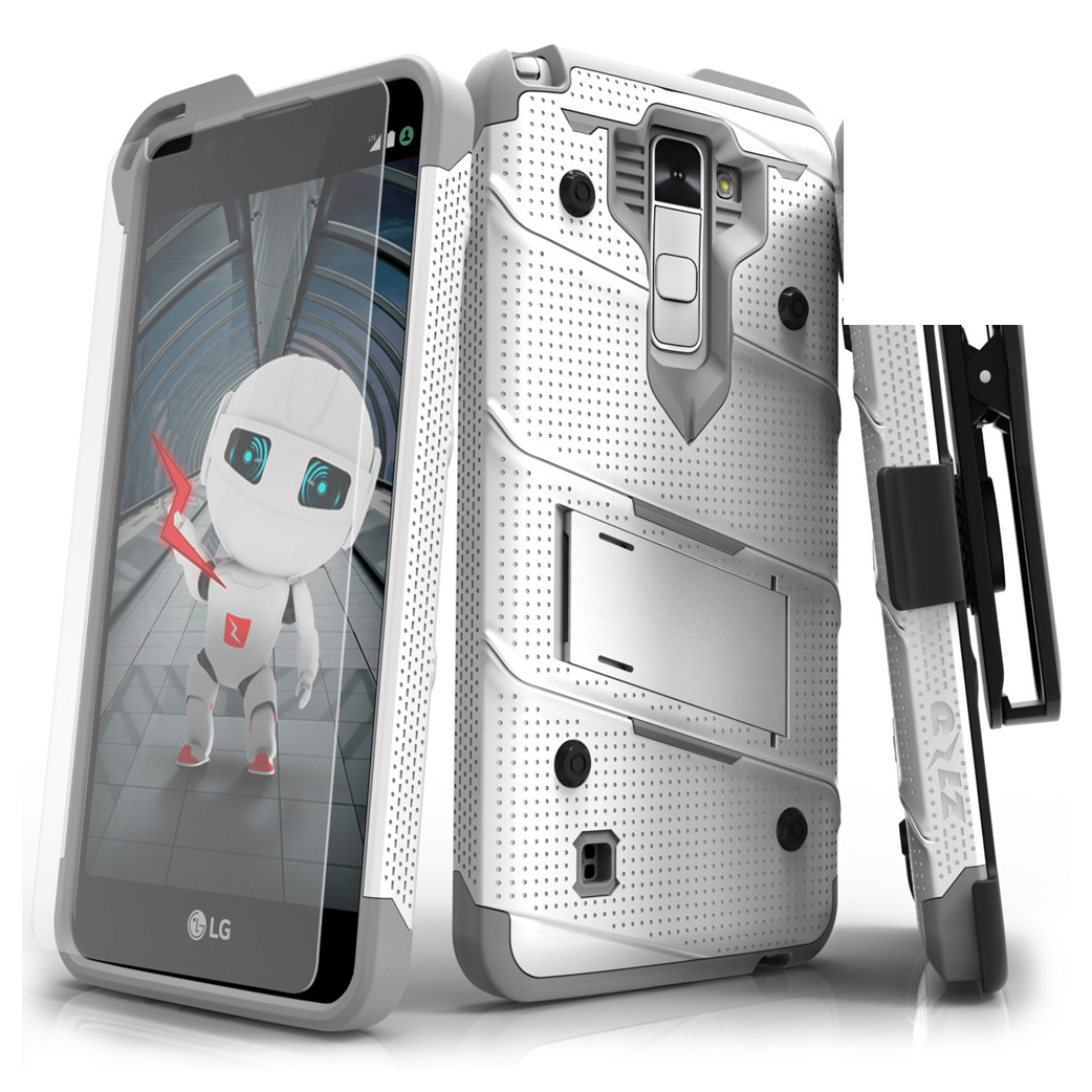 Made for [LG Stylo 2]-Bolt Series:  Heavy Duty Cover w/ Kickstand Holster Tempered Glass Screen Protector & Lanyard [White/ Gray]