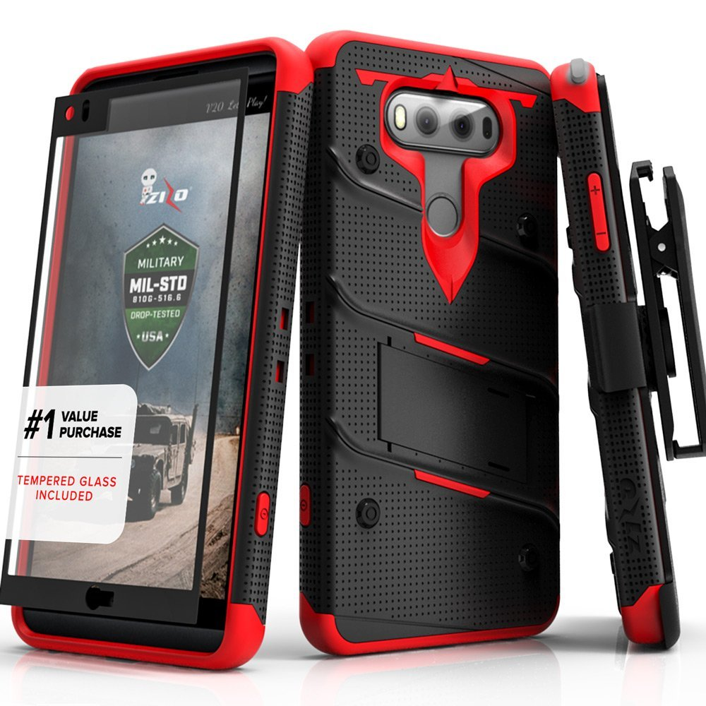 Made for [LG V30]-Bolt Series:  Heavy Duty Cover w/ Kickstand Holster Tempered Glass Screen Protector & Lanyard [Black/ Red]