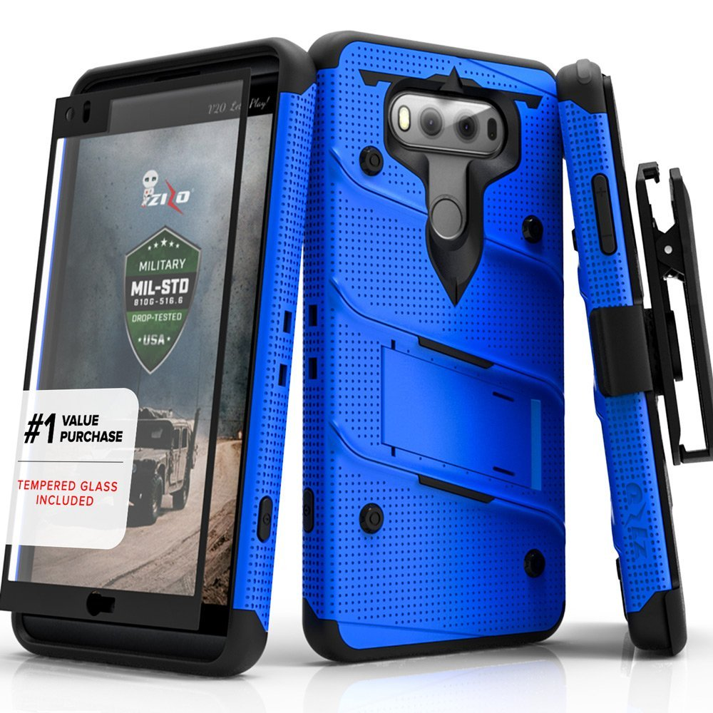 Made for [LG V30]-Bolt Series:  Heavy Duty Cover w/ Kickstand Holster Tempered Glass Screen Protector & Lanyard [Blue/ Black]