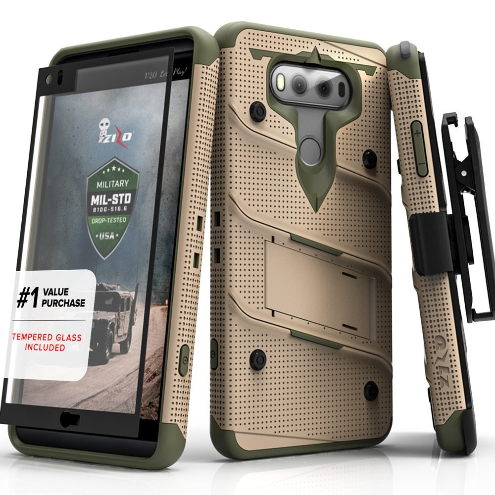 Made for [LG V30]-Bolt Series:  Heavy Duty Cover w/ Kickstand Holster Tempered Glass Screen Protector & Lanyard [Desert Tan/Camo Green]