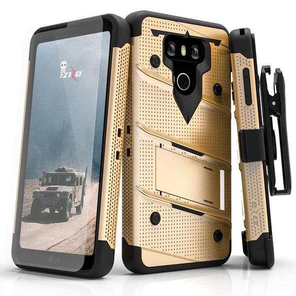 Made for [LG V30]-Bolt Series:  Heavy Duty Cover w/ Kickstand Holster Tempered Glass Screen Protector & Lanyard [Gold/ Black]
