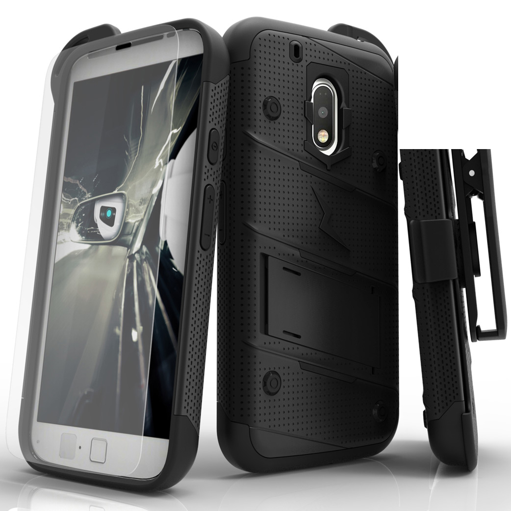 Made for [Motorola Moto G4/ Moto G4 Plus]-Bolt Series:  Heavy Duty Cover w/ Kickstand Holster Tempered Glass Screen Protector & Lanyard [Black]