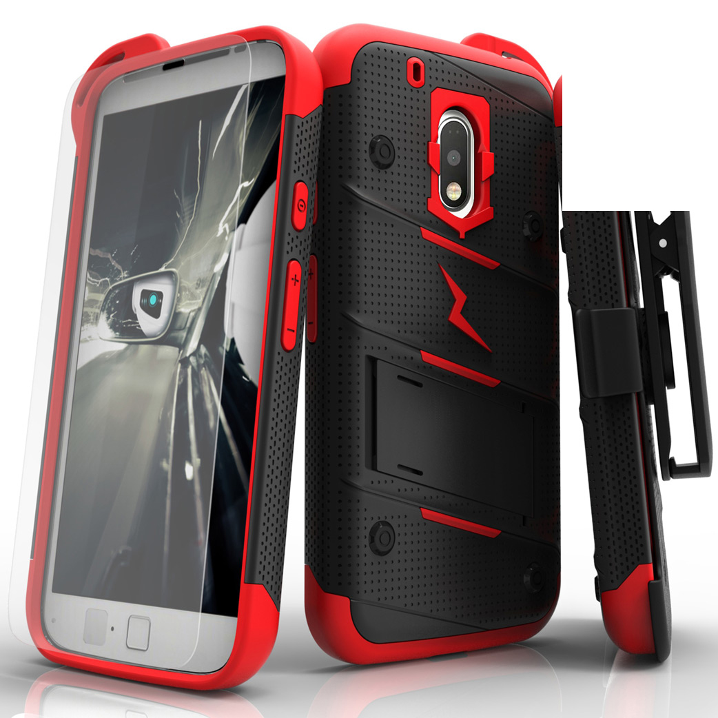 Motorola Moto G4/ Moto G4 Plus Case - [bolt] Heavy Duty Cover w/ Kickstand, Holster, Tempered Glass Screen Protector & Lanyard [Black/ Red]