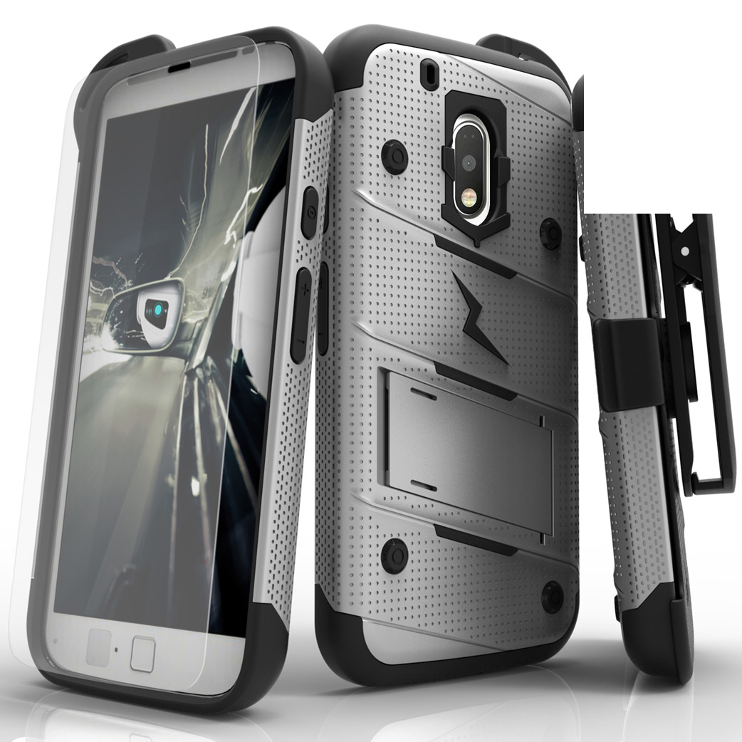 Motorola Moto G4/ Moto G4 Plus Case - [bolt] Heavy Duty Cover w/ Kickstand, Holster, Tempered Glass Screen Protector & Lanyard [Gray/ Black]
