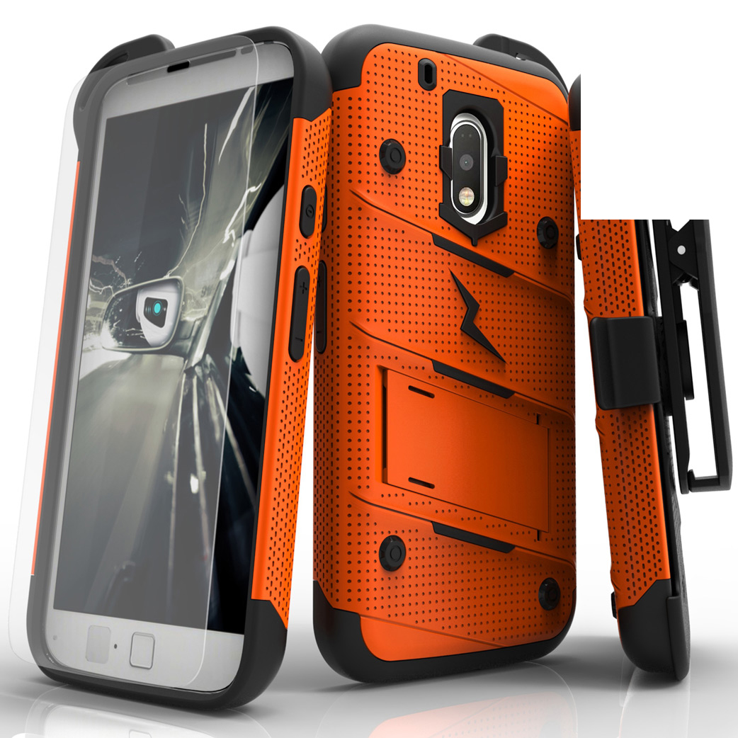 Motorola Moto G4/ Moto G4 Plus Only.  Will not fit Moto G4 Play Case - [bolt] Heavy Duty Cover w/ Kickstand, Holster, Tempered Glass Screen Protector & Lanyard [Orange/ Black]