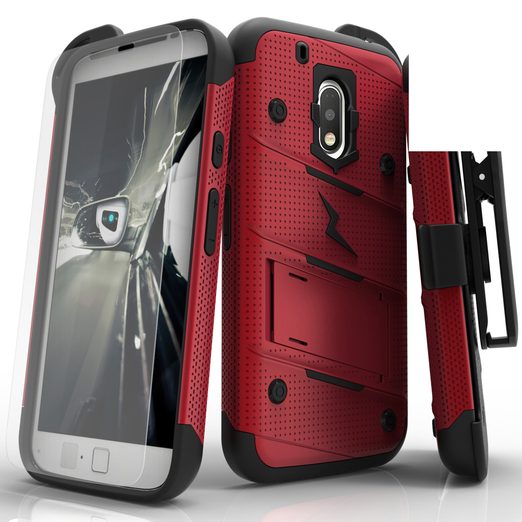 Motorola Moto G4/ Moto G4 Plus **Does NOT work with MOTO G4 PLAY** Case - [bolt] Heavy Duty Cover w/ Kickstand, Holster, Tempered Glass Screen Protector & Lanyard [Red/ Black]