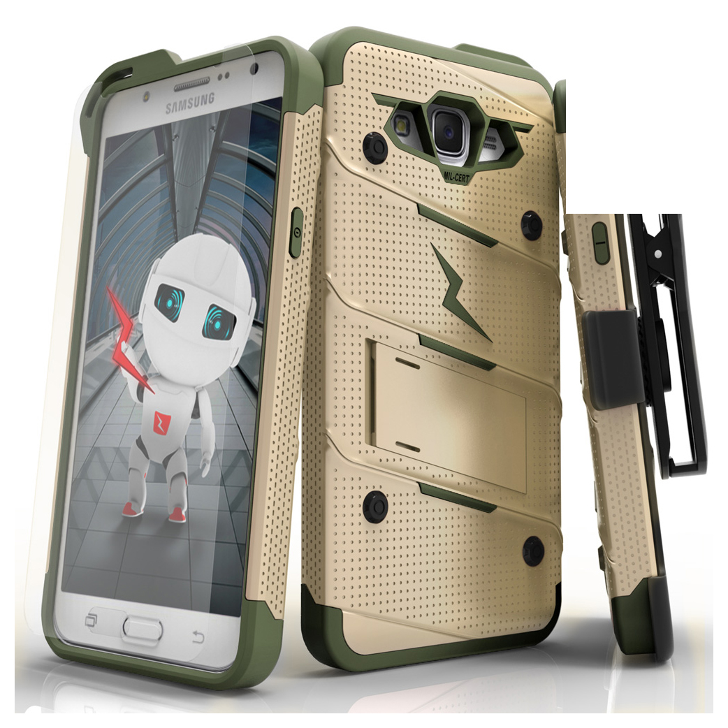 Made for [Samsung Galaxy J7]-Bolt Series:  Heavy Duty Cover w/ Kickstand Holster Tempered Glass Screen Protector & Lanyard [Desert Tan/ Camo Green]