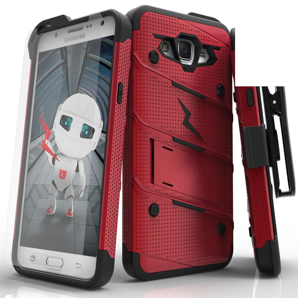 Made for [Samsung Galaxy J7]-Bolt Series:  Heavy Duty Cover w/ Kickstand Holster Tempered Glass Screen Protector & Lanyard [Red/ Black]