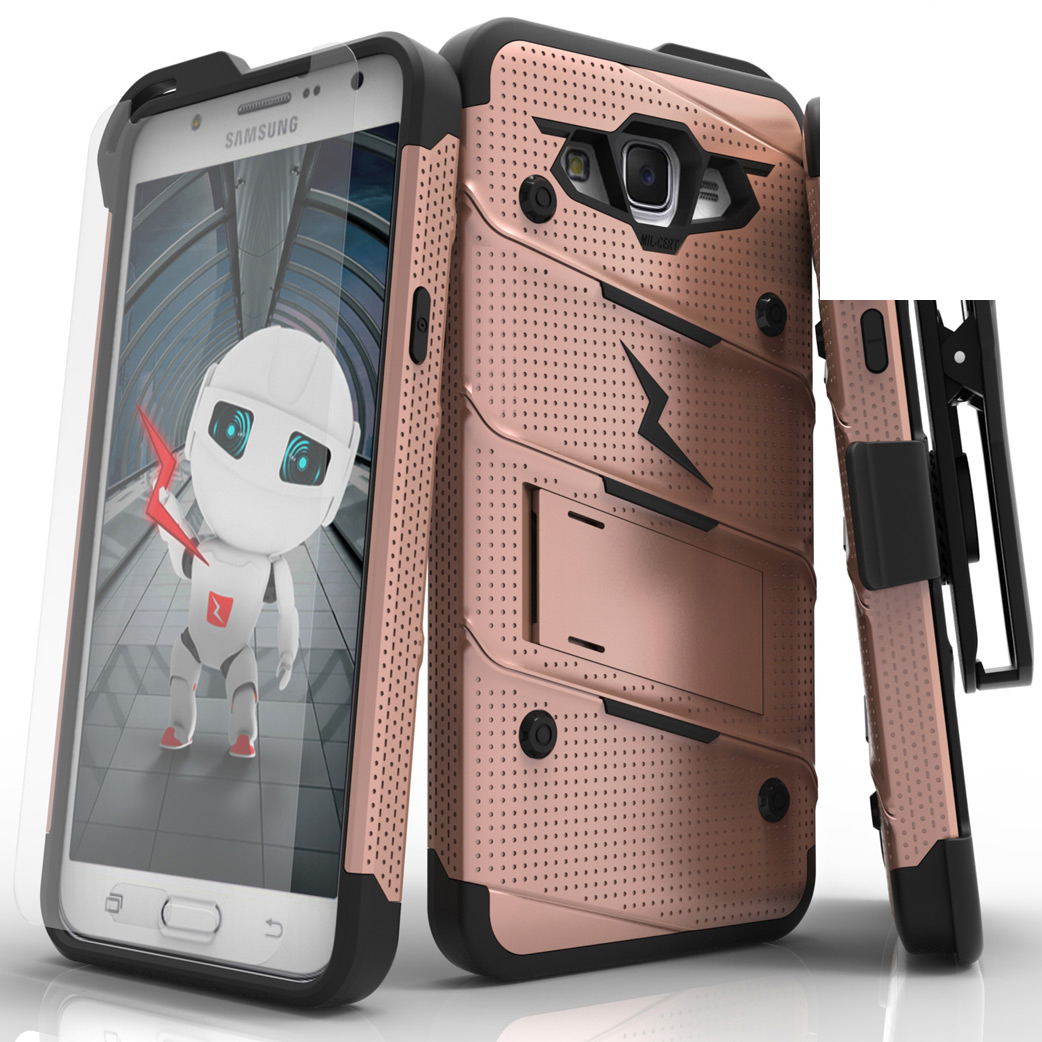 Samsung Galaxy J7 (2015) Case - [bolt] Heavy Duty Cover w/ Kickstand, Holster, Tempered Glass Screen Protector & Lanyard [Rose Gold/ Black]