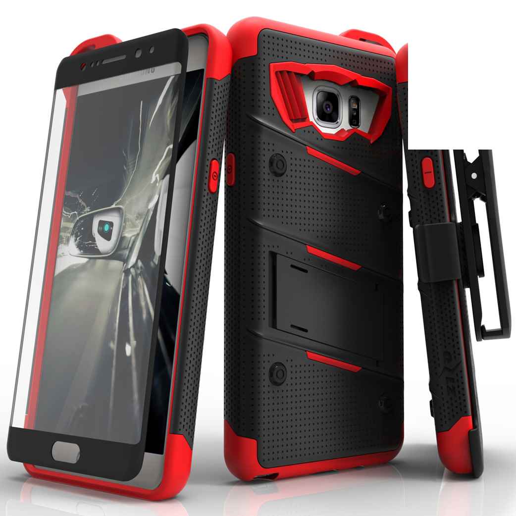 Made for [Samsung Galaxy Note 7]-Bolt Series:  Heavy Duty Cover w/ Kickstand Holster Tempered Glass Screen Protector & Lanyard [Black/ Red]