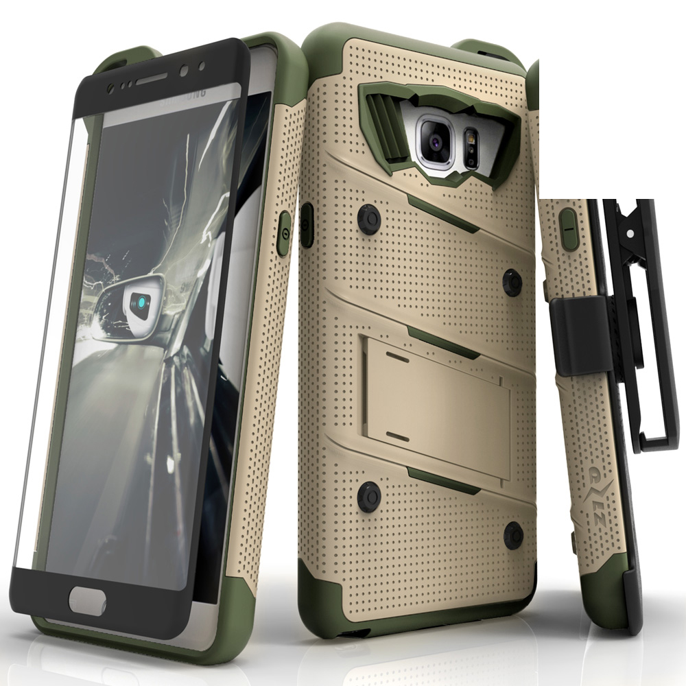 Samsung Galaxy Note 7 Case - [bolt] Heavy Duty Cover w/ Kickstand, Holster, Tempered Glass Screen Protector & Lanyard [Desert Tan/ Camo Green]