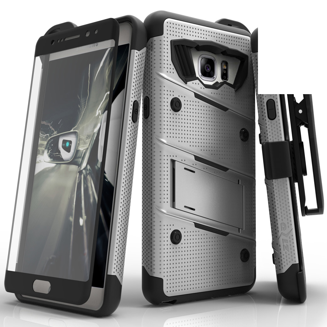Made for [Samsung Galaxy Note 7]-Bolt Series:  Heavy Duty Cover w/ Kickstand Holster Tempered Glass Screen Protector & Lanyard [Gray/ Black]