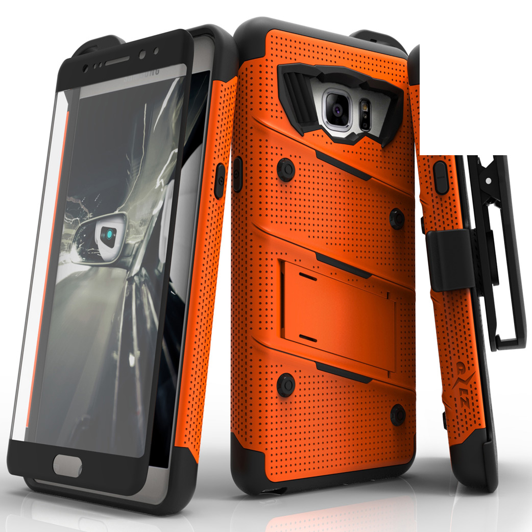 Made for [Samsung Galaxy Note 7]-Bolt Series:  Heavy Duty Cover w/ Kickstand Holster Tempered Glass Screen Protector & Lanyard [Orange/ Black]