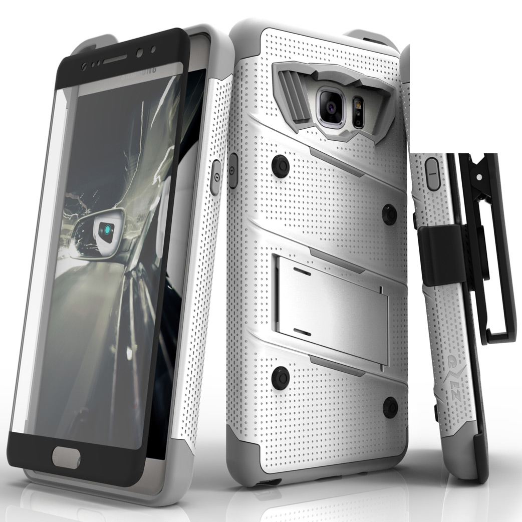 Samsung Galaxy Note 7 Case - [bolt] Heavy Duty Cover w/ Kickstand, Holster, Tempered Glass Screen Protector & Lanyard [White/ Gray]
