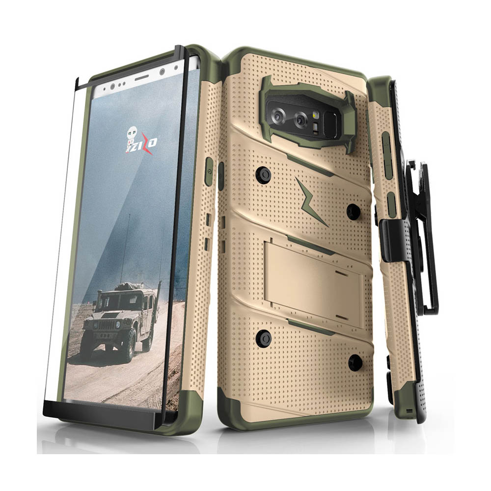 Made for [Samsung Galaxy Note 8]-Bolt Series:  Heavy Duty Cover w/ Kickstand Holster Curved Full Glass Screen Protector & Lanyard [Desert Tan/ Camo Green]