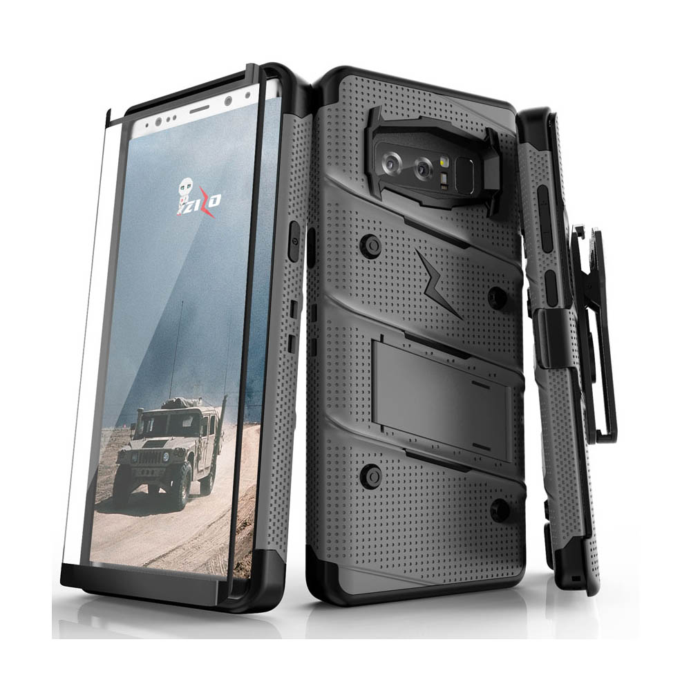 Made for [Samsung Galaxy Note 8]-Bolt Series:  Heavy Duty Cover w/ Kickstand Holster Curved Full Glass Screen Protector & Lanyard [Gun Metal Gray/ Black]