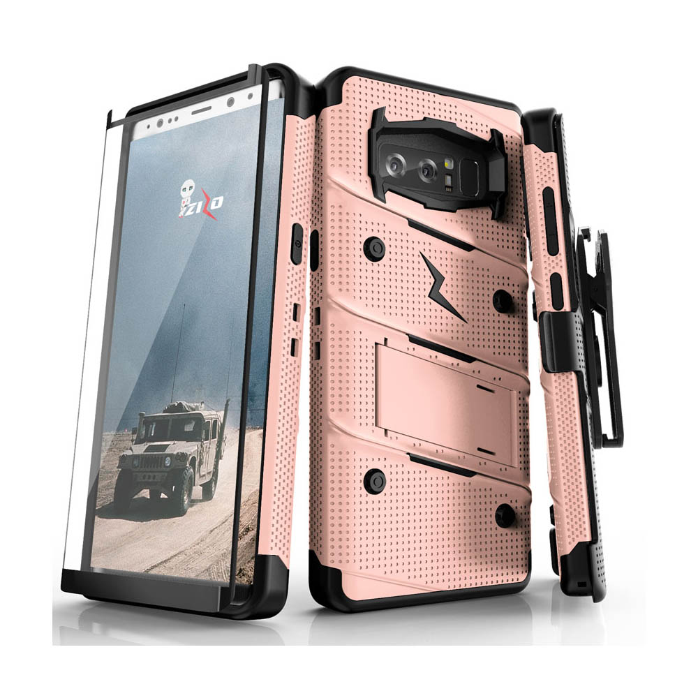 Made for [Samsung Galaxy Note 8]-Bolt Series:  Heavy Duty Cover w/ Kickstand Holster Curved Full Glass Screen Protector & Lanyard [Rose Gold/ Black]