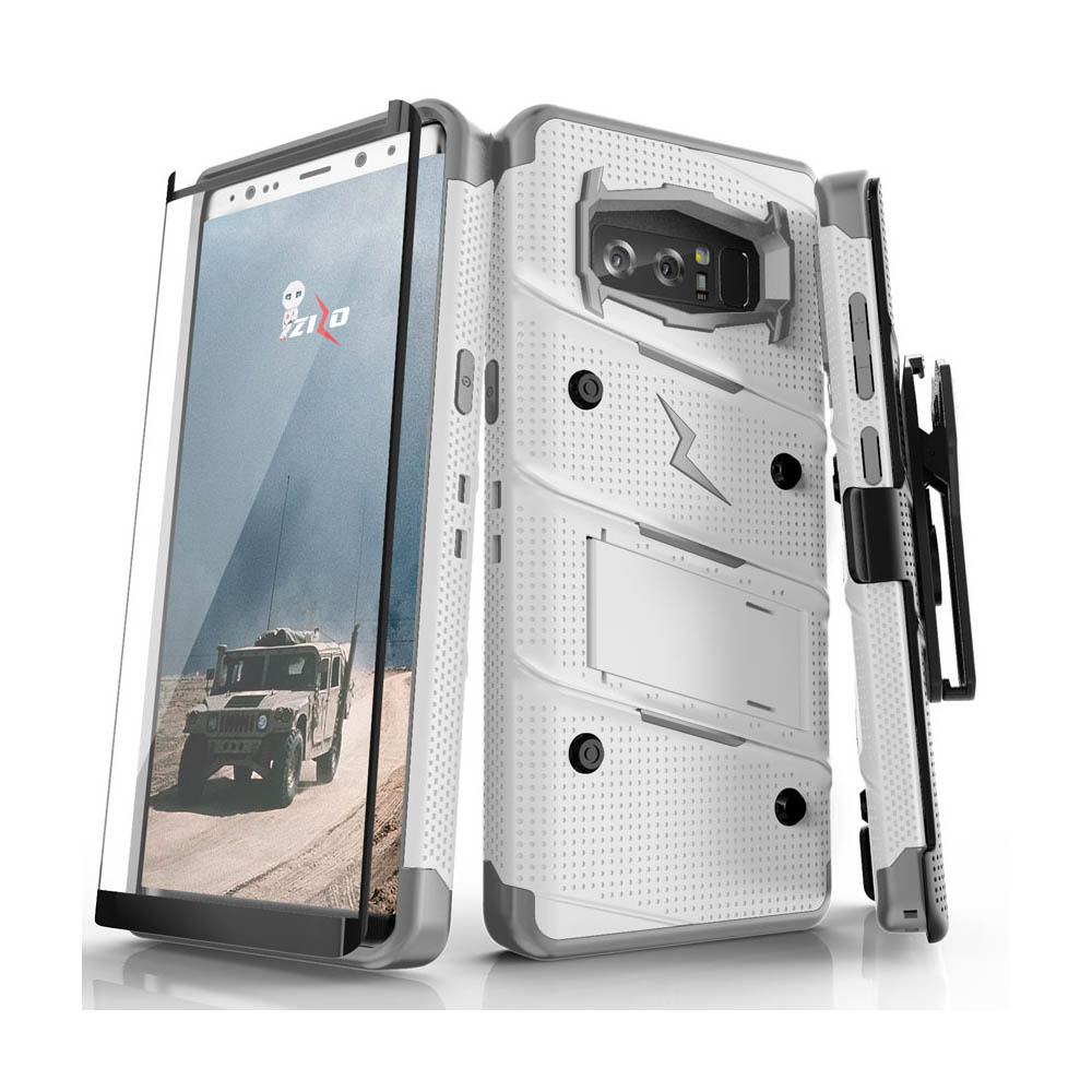 Made for [Samsung Galaxy Note 8]-Bolt Series:  Heavy Duty Cover w/ Kickstand Holster Curved Full Glass Screen Protector & Lanyard [White/ Gray]