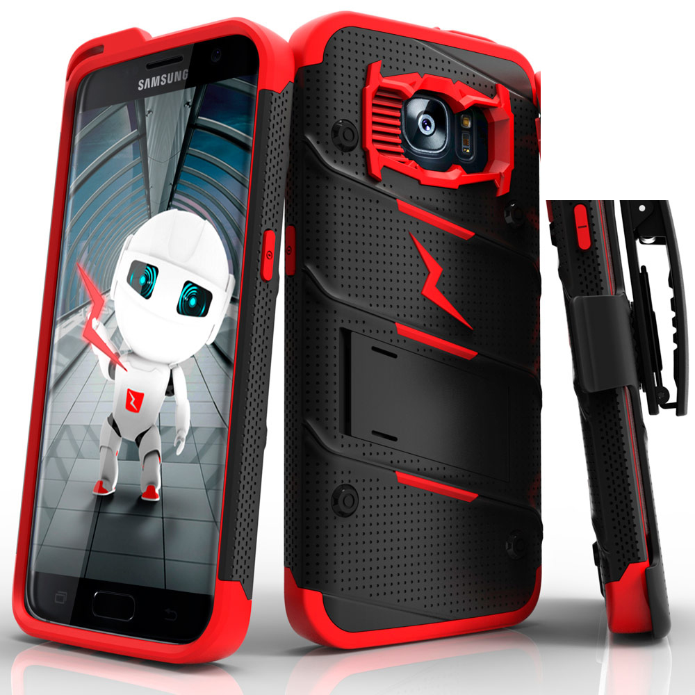 Made for [Samsung Galaxy S7 Edge]-Bolt Series:  Heavy Duty Cover w/ Kickstand Holster & Lanyard [Black/ Red] - Tempered Screen Protector Included