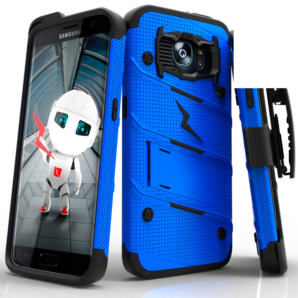 Samsung Galaxy S7 Edge Case - [bolt] Heavy Duty Cover w/ Kickstand, Holster, & Lanyard [Blue/ Black] - Tempered Screen Protector Included