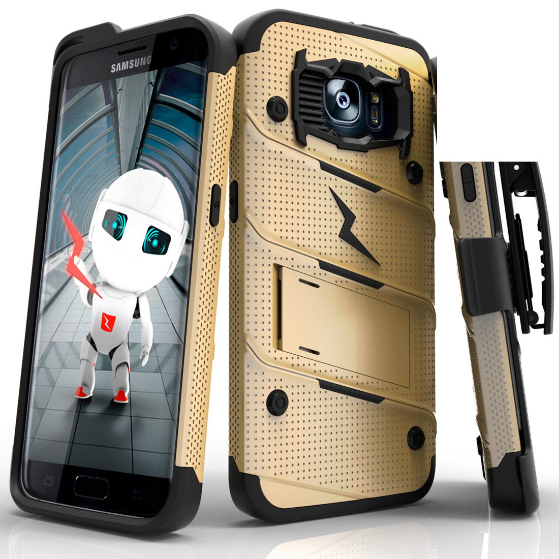 Samsung Galaxy S7 Edge Case - [bolt] Heavy Duty Cover w/ Kickstand, Holster, & Lanyard [Gold/ Black] - Tempered Screen Protector Included