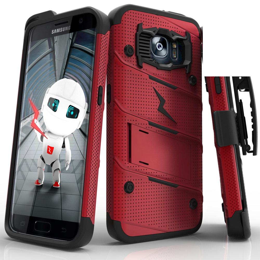Samsung Galaxy S7 Edge Case - [bolt] Heavy Duty Cover w/ Kickstand, Holster, & Lanyard [Red/ Black] - Tempered Screen Protector Included