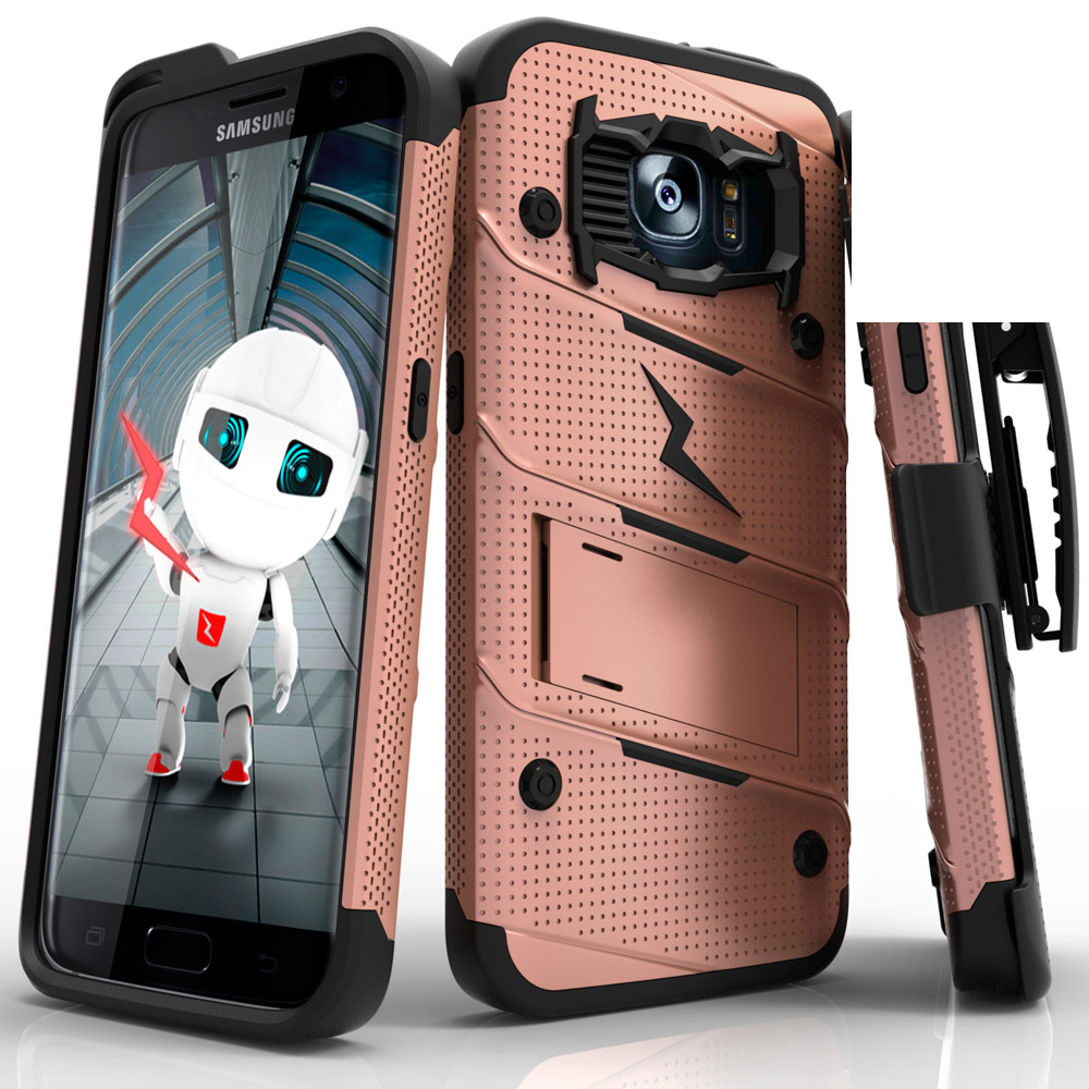 Samsung Galaxy S7 Edge Case - [bolt] Heavy Duty Cover w/ Kickstand, Holster, & Lanyard [Rose Gold/ Black] - Tempered Screen Protector Included