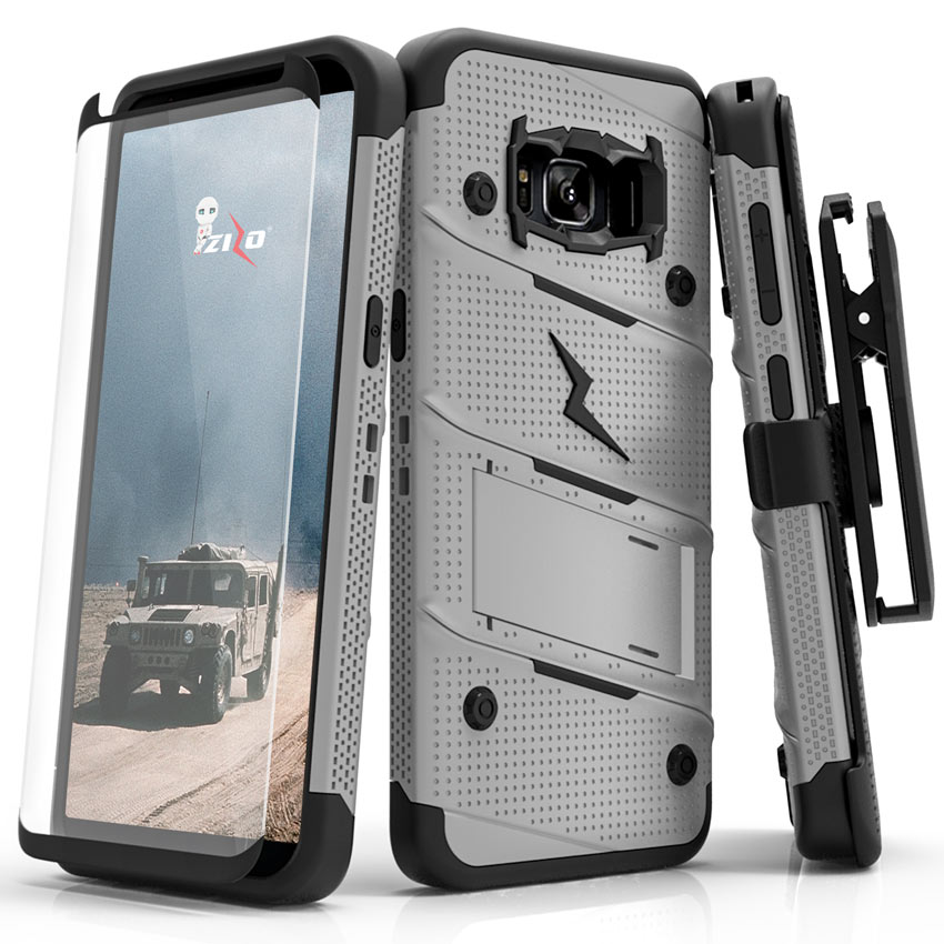 Made for [Samsung Galaxy S8]-Bolt Series:   Heavy Duty Cover w/ Kickstand Holster Tempered Glass Screen Protector & Lanyard [Gray/ Black]