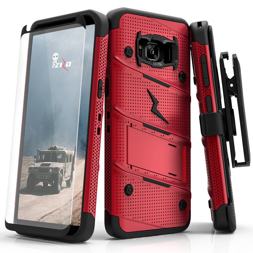Made for [Samsung Galaxy S8]-Bolt Series:   Heavy Duty Cover w/ Kickstand Holster Tempered Glass Screen Protector & Lanyard [Red/ Black]