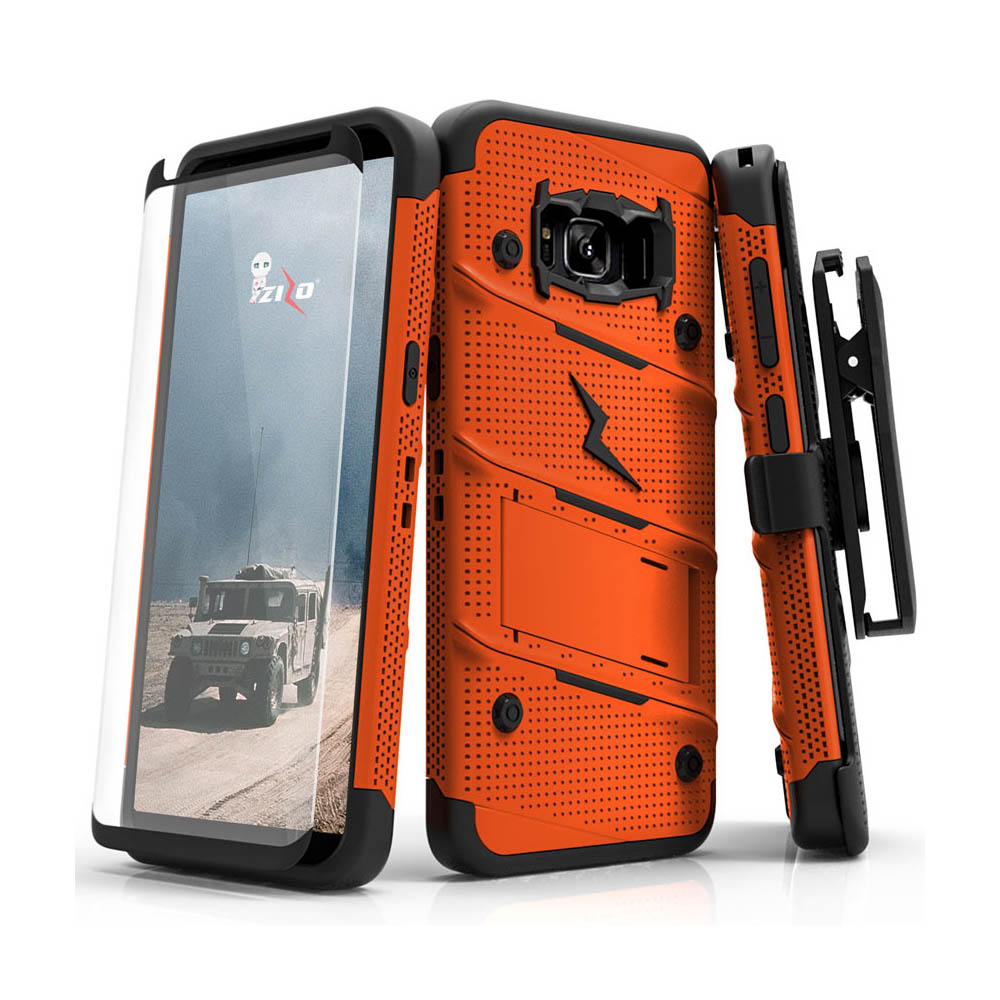 Made for [Samsung Galaxy S8 Active]-Bolt Series:  Heavy Duty Cover w/ Kickstand Holster Tempered Glass Screen Protector & Lanyard [Orange/ Black]
