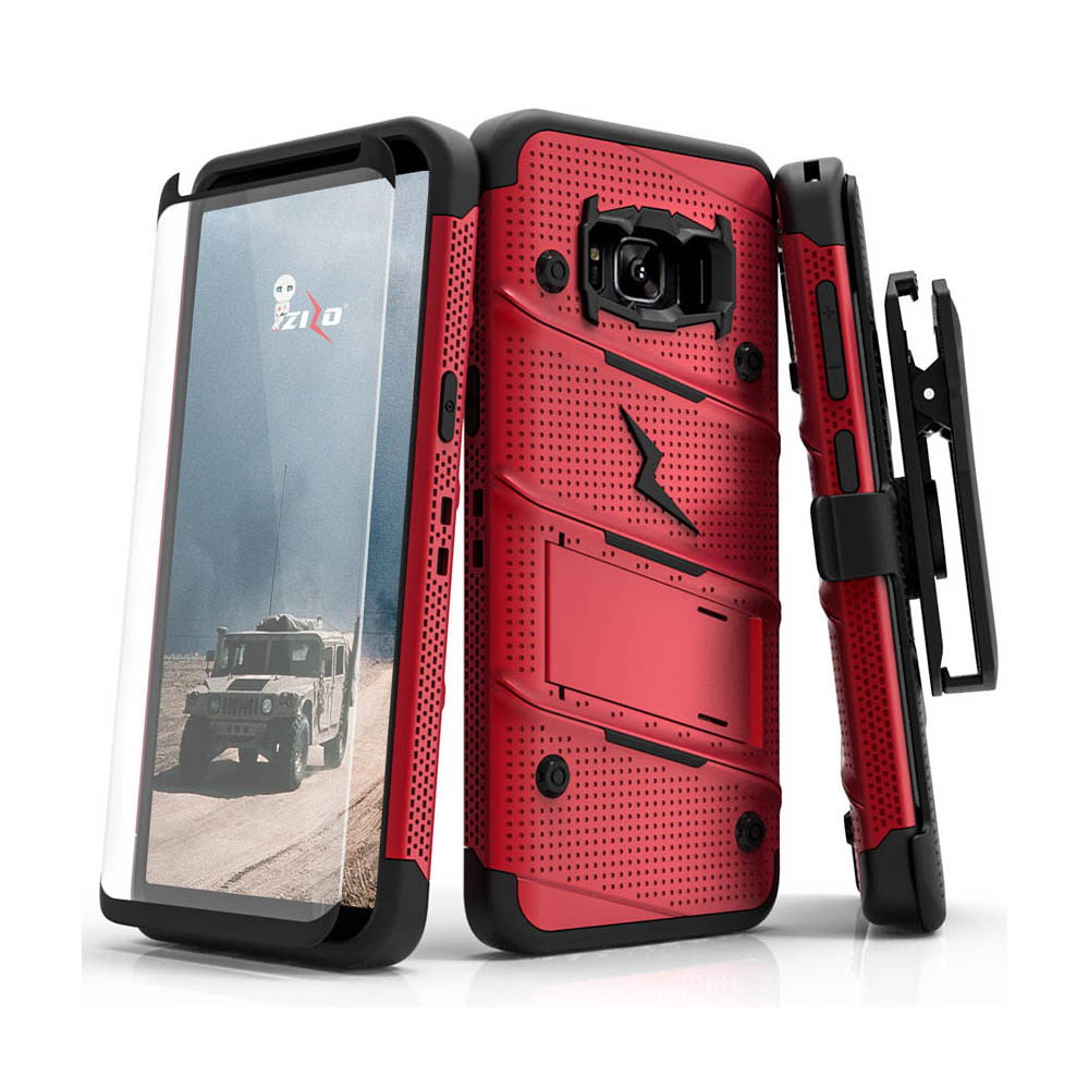 Samsung Galaxy S8 Active Case - [BOLT] Heavy Duty Cover w/ Kickstand, Holster, Tempered Glass Screen Protector & Lanyard [Red/ Black]