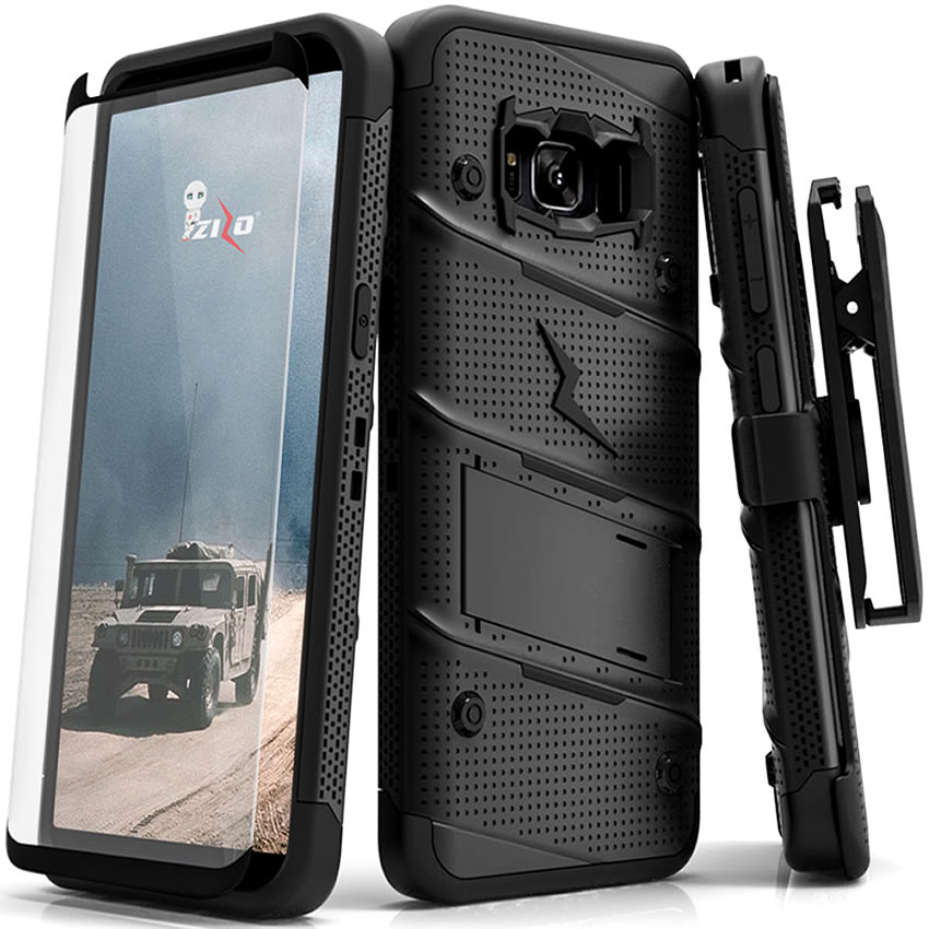 Made for [Samsung Galaxy S8 Plus]-Bolt Series:   Heavy Duty Cover w/ Kickstand Holster Tempered Glass Screen Protector & Lanyard [Black]